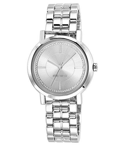 Nine West Women's Glitter-Accented Silver-Tone Bracelet Watch
