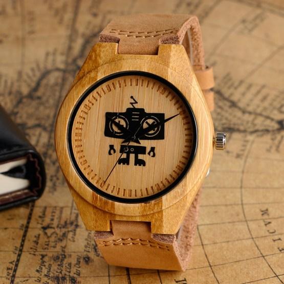 2017 New Arrival Cute Robot Designer Natrual Wood Watch
