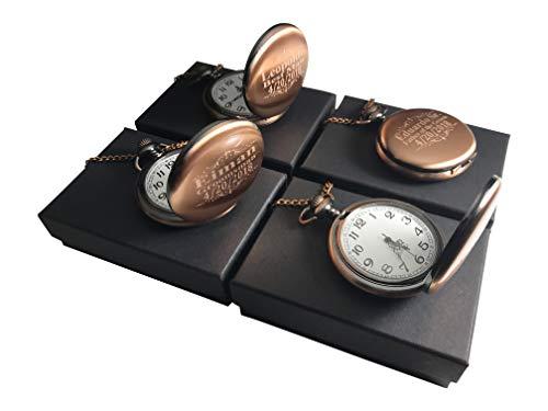 8 Personalized Pocket Watches, Set of 8 Groomsmen Wedding