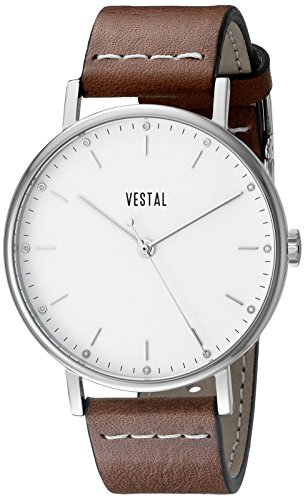 Vestal Unisex The Sophisticate Stainless Steel Watch with Brown Leather Band