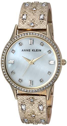 Anne Klein Women's Swarovski Crystal Accented Gold-Tone Textured Bangle Watch