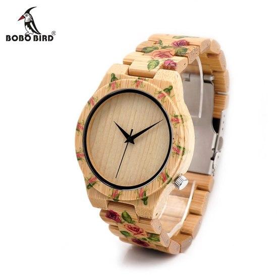 BOBO BIRD Women Wrist watches ladies Wooden Bamboo Watch