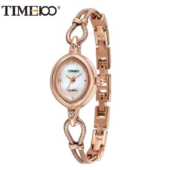 TIME100 Women Watches Shell Dial Gold Alloy Bracelet Quartz Wrist