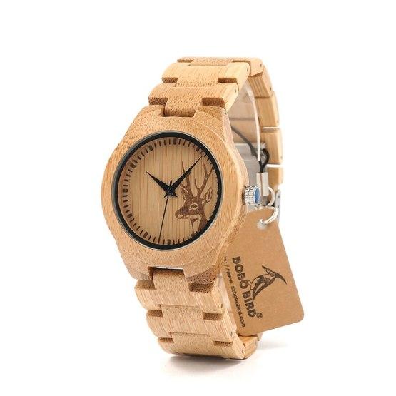 BOBO BIRD E04 Full Bamboo Wooden Watch for women Deer Designer