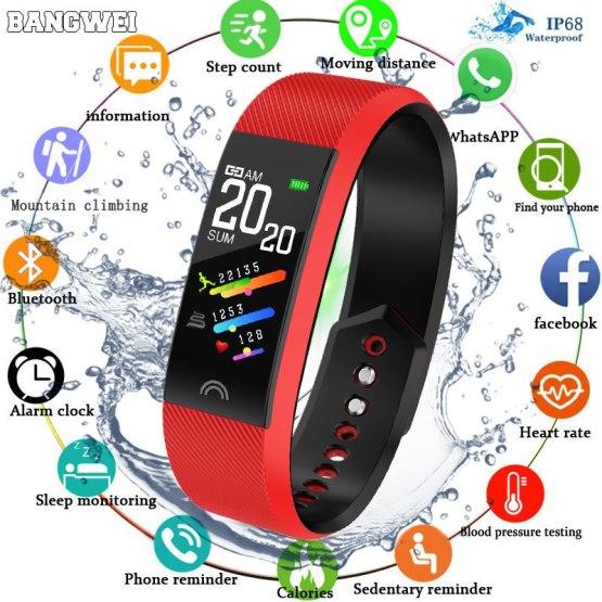 BANGWEI New Men Sport Smart Watch Bluetooth Pedometer Fitness