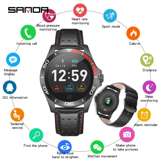 SANDA Smartwatch for iOS Android Bluetooth Men Women Heart Rate