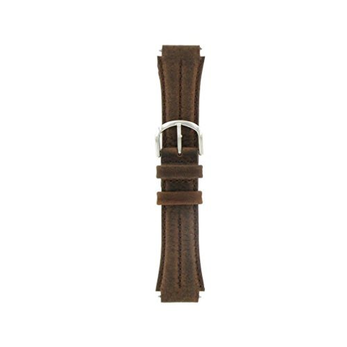 Watch Band 18mm Genuine Leather/Nylon Brown Sport Replacement