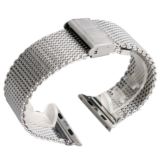 Silver/Black 38/42mm Web Mesh Stainless Steel Apple Watch Band