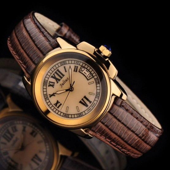 Top Julius Lady Women's 5 Colors Auto Date Wrist Watch Elegant Shell Retro