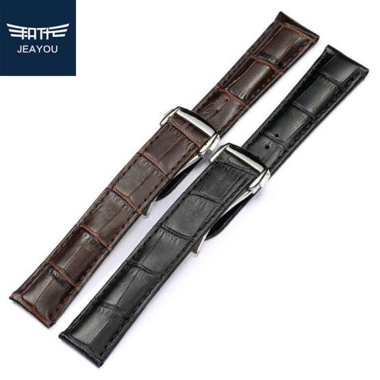 JEAYOU Men Genuine Leather Watch Strap Watch Band
