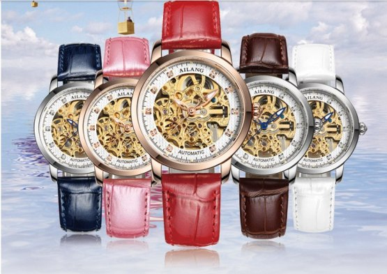 Cool Skeleton AILANG Women Sparkling Crystal Automatic Watches