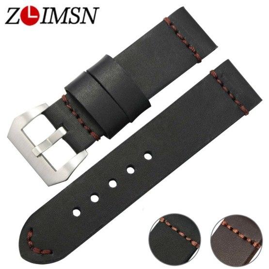 ZLIMSN Black Brown Genuine Leather Watches bands 22mm 24mm Watch