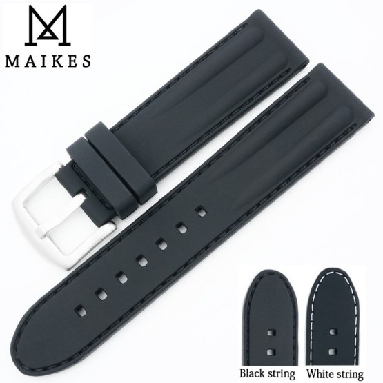 MAIKES New rubber watchband Black By Handmade Stitching Sports Silicone