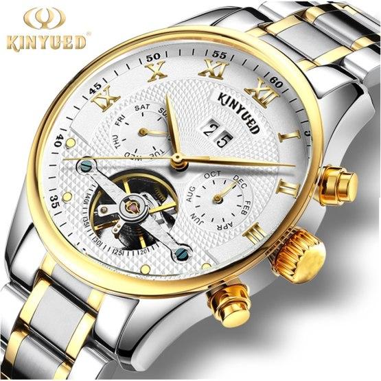 Kinyued Skeleton Tourbillon Mechanical Watch Automatic Men