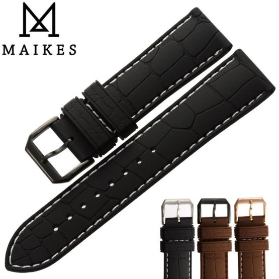 MAIKES New Arrival Black Silicone Band 20mm 22mm Watch