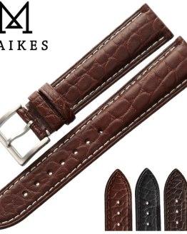 MAIKES HQ Genuine Alligator Leather Strap Watch Band Belt