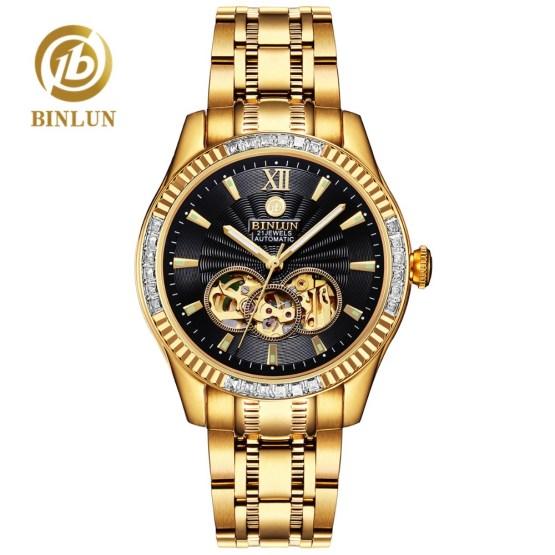 BINLUN 18k Gold Luxury Men's Automatic Watch Top Brand Skeleton