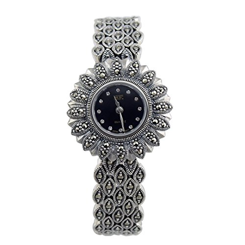 Antique Silver Watches Women - Ladies Genuine Marcasite Wristwatches
