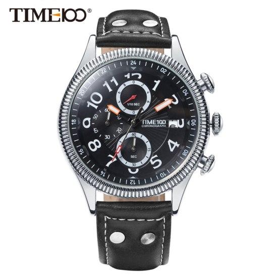 Time100 Fashion Watch Men Multifunction Leather Strap men Quartz Watches