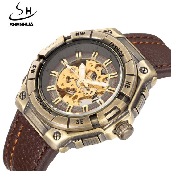 SHENHUA Luxury Men's Mechanical Watches Vintage Bronze Skeleton