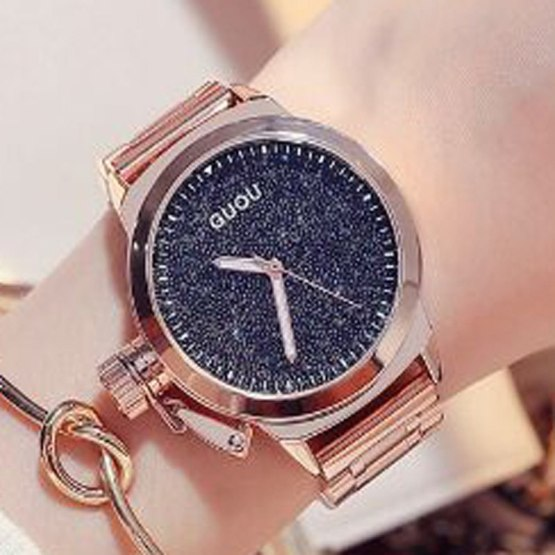 GUOU Rose Gold Ladies Watch Fashion Women's Watches Stainless Steel