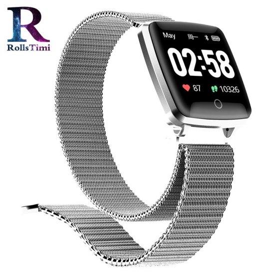 Mens Smartwatch RollsTimi New Fitness Tracker Heart Rate Blood Pressure Monitor