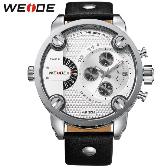 WEIDE Men Watches Fashion Casual Genuine Leather Strap Big Dial White