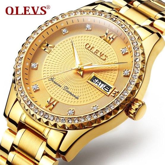 2018 Top Brand Luxury Diamond Watch Men Golden Stainless Steel