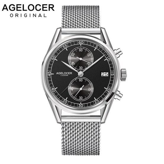Agelcoer Date Clock Male Steel Strap Chronograph Wrist Sport Watch