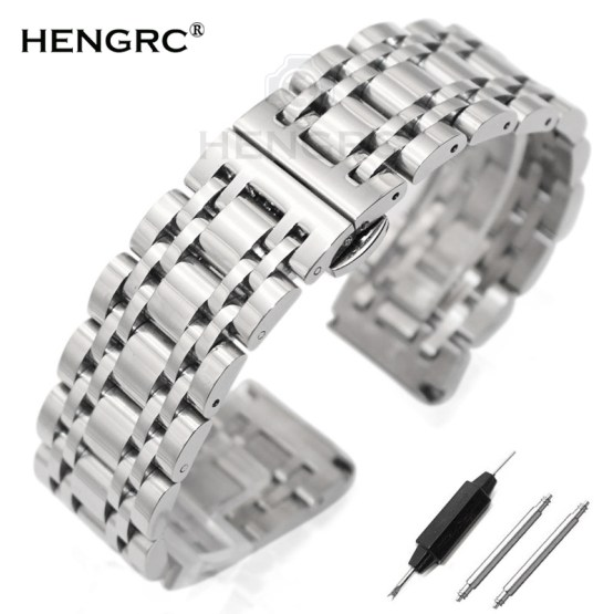 Stainless Steel Watchband Bracelet 20mm 22mm Men Metal Polished