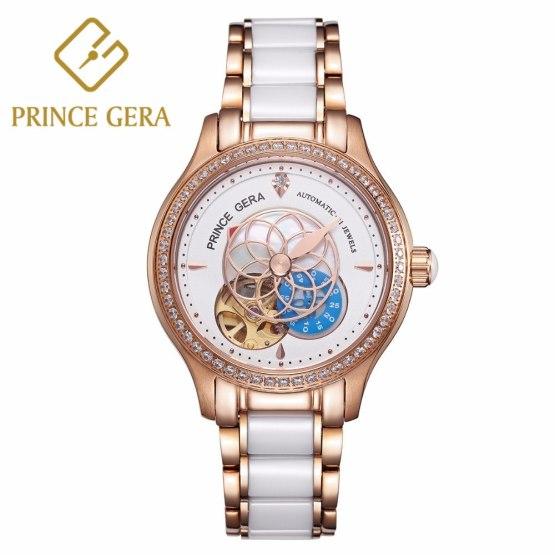 PRINCE GERA Women Luxury Rose Gold Two-tone Ceramic Wrist Watch