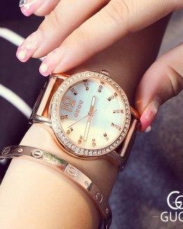 GUOU Top Brand Luxury Women's Watches Rose Gold Diamond Ladies