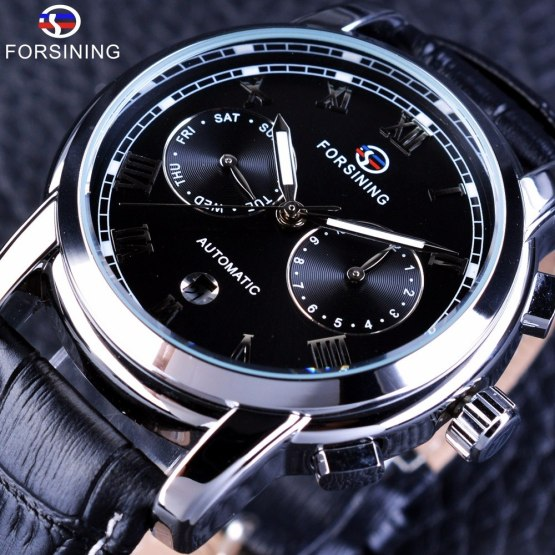 Forsining Two Eyes Calendar Display Fashion Design Waterproof Male Wrist Watch