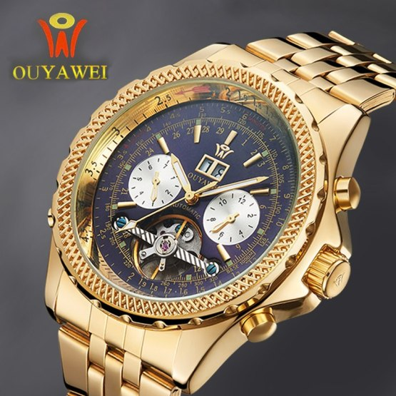 Mechanical Automatic Gold Watch Men Luxury Brand OUYAWEI Tourbillon