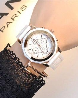 GUOU Ladies Watch Top Brand Wrist Watches Ceramic Strap Calendar