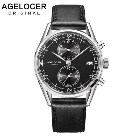 New Silver Bezel Back Leather Band Wrist Watch Swiss Mens Watches