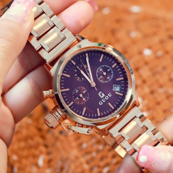 GUOU Fashion Women's Watches Rose Gold Calendar Luxury Ladies