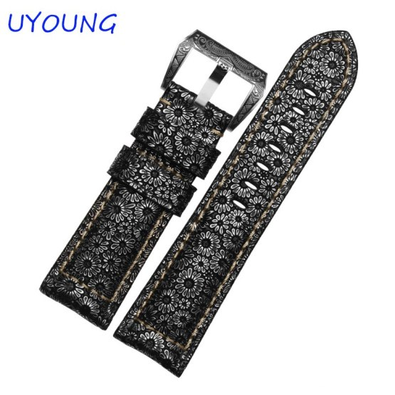 Quality Petal pattern Genuine Leather Watch band 24mm 26mm