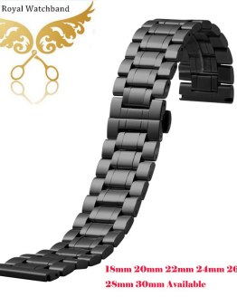 Watch band 18mm 20mm 22mm 24mm 26mm 28mm 30mm Black Stainless Steel