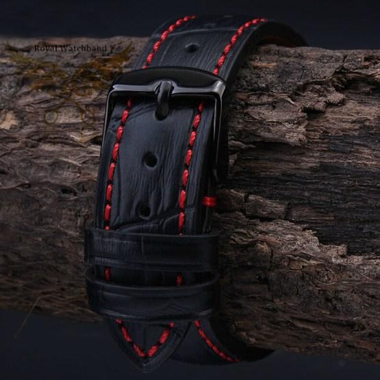 NEW Mens High quality Genuine Leather Black Croco Stitch Watch Band Strap