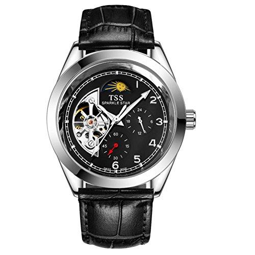QWERTYUIOP Mens Hollow Wrist Watch/Fashion Casual Waterproof Watch-E