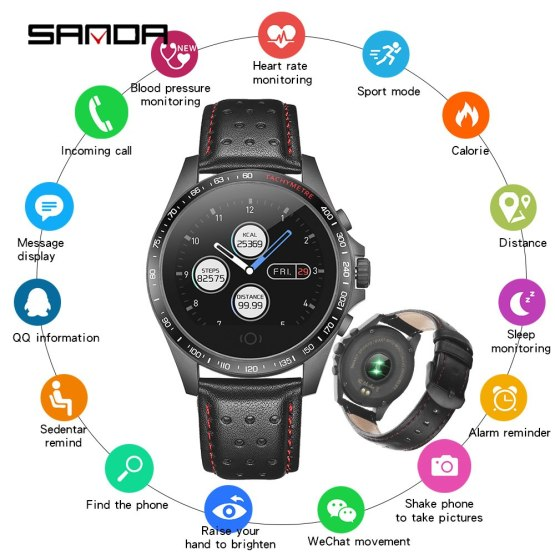 SANDA Bluetooth Smartwatch Sport Fitness Bracelet Leather Watches