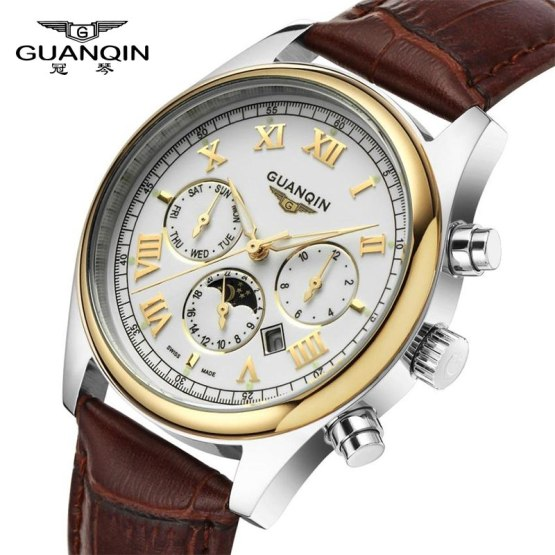 GUANQIN Retro Design Leather Band Watches Men