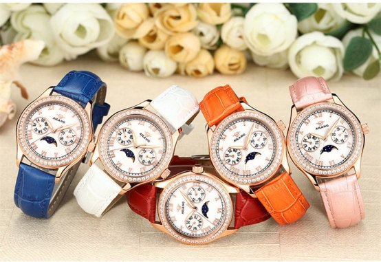 Multi-functional Women Quartz Dress Watches Moon Phase Candy Colors