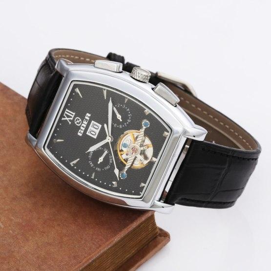 GOER Tourbillon Mechanical Watches PU Leather Strap Automatic Mechanical