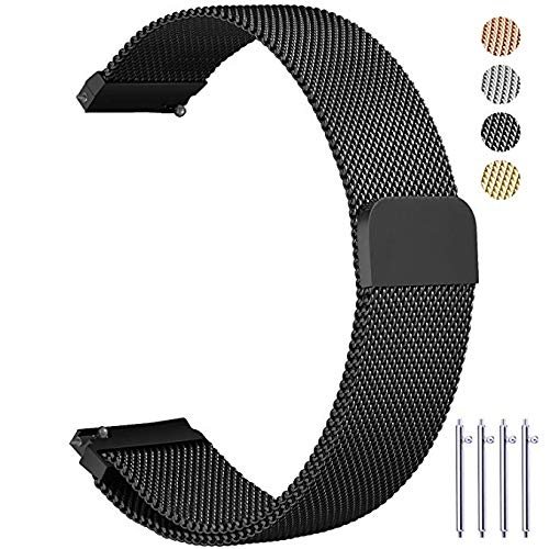 Vetoo 20mm Metal Milanese Replacement Watch Bands - Black