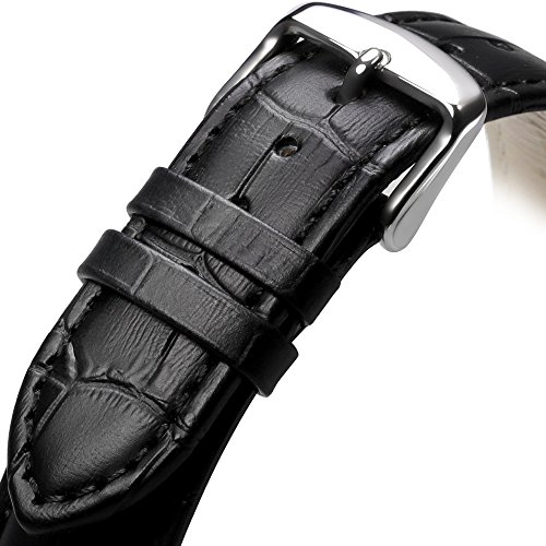 iStrap 20mm Genuine Calf Leather Watch Band Alligator Grain Padded iStrap 20mm Genuine Calf Leather Watch Band Alligator Grain Padded for Men Women - Black