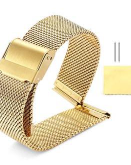 BINLUN Milanese Mesh Watch Band 4 Color(Gold,Sliver,Black,Rose Gold)