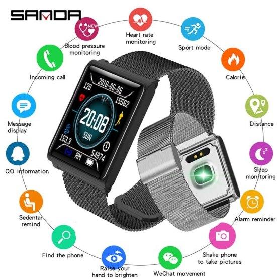 New SANDA Bluetooth Sport Smart Watch Men Heart Rate Monitor