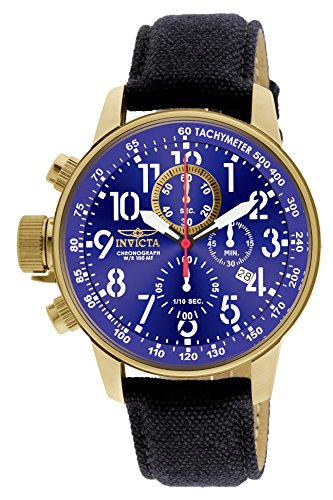 Invicta Men's Force Collection 18k Gold Ion-Plated Stainless Steel and Cloth Watch